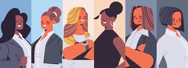 セットミックスレースビジネスウーマンアバターコレクション女性のチームコンセプト成功したビジネスの人々グループ水平イラスト