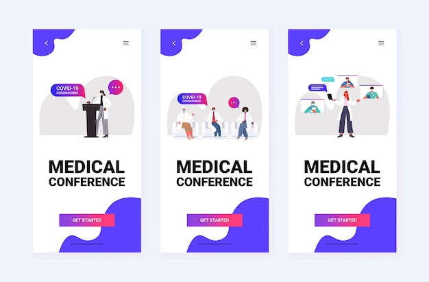 Set mix race doctors discussing during during meeting medical conference covid-19 pandemic self isolation medicine healthcare concept horizontal vector illustration