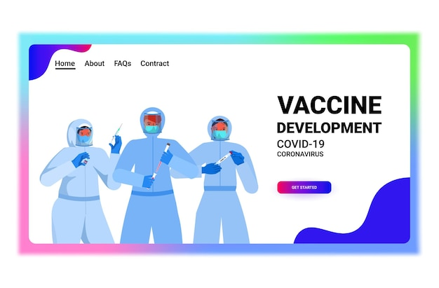Set mix race doctors or scientists in masks working with covid-19 nasal swab rapid laboratory tests blood samples in flasks coronavirus pandemic concept horizontal copy space portrait vector illustrat