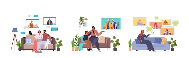 Set mix race grandparents parents and children having virtual meeting during video call family chat communication concept living room interior horizontal