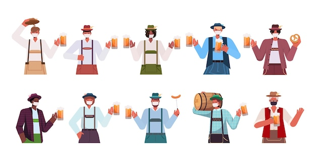 ビールジョッキを保持している医療マスクでミックスレースの男性を設定オクトーバーフェストパーティーのお祝いコロナウイルス検疫コンセプト男ドイツの伝統的な服の肖像画コレクション水平