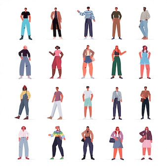 Set mix race people in casual trendy clothes female male cartoon characters collection