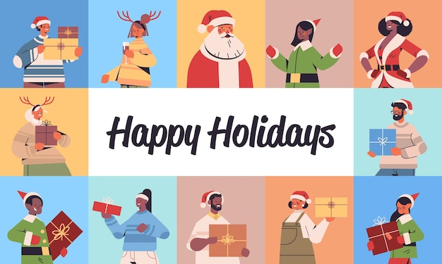 Set mix race people celebrating happy new year merry christmas winter holidays celebration concept greeting card horizontal portrait vector illustration