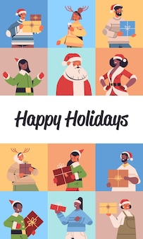 Set mix race people celebrating happy new year merry christmas winter holidays celebration concept greeting card vertical portrait vector illustration