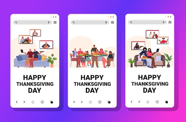 Set mix race people celebrating happy thanksgiving day family discussing during video call concept smartphone screens collection