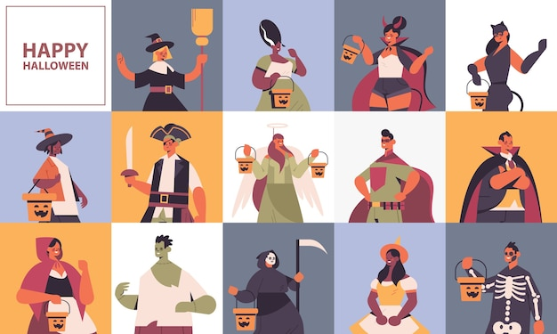 Set mix race people in different costumes happy halloween party celebration concept cute men women avatars collection copy space flat portrait horizontal vector illustration