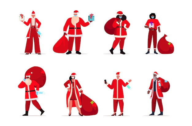 Набор смешанной расы люди в костюмах санта-клауса в защитных масках новый год рождественские праздники празднование коронавирус карантин концепция горизонтальная иллюстрация