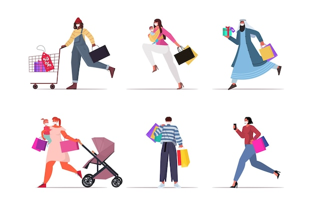 Set mix race people in masks holding shopping bags black friday big sale promotion discount coronavirus quarantine concept   isolated