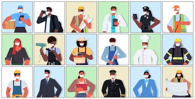 コロナウイルスを防ぐために、マスクを着用している異なる職業の混合人種を設定する