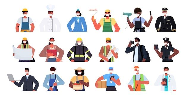 마스크를 쓰고 다른 직업의 혼합 인종 사람들을 설정