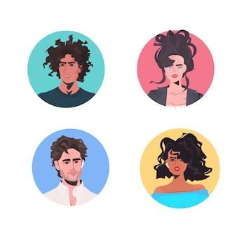セットミックス人々プロフィールアバター美しい男性女性が男性女性の漫画のキャラクターに直面しています。