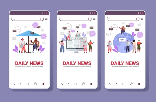 Set mix race people reading newspapers and discussing daily news chat bubble communication concept. smartphone screens collection full length copy space horizontal illustration