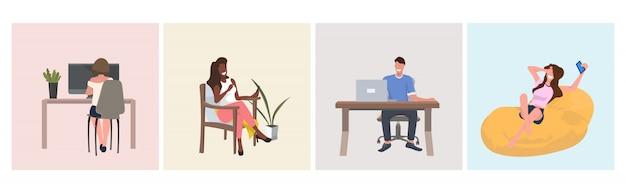 Набор микс рас люди сидят на кресле с помощью ноутбука или смартфона