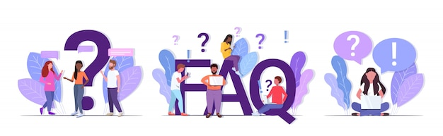 Set mix race people with question exclamation marks using digital devices online support center frequently asked questions faq concepts collection full length horizontal