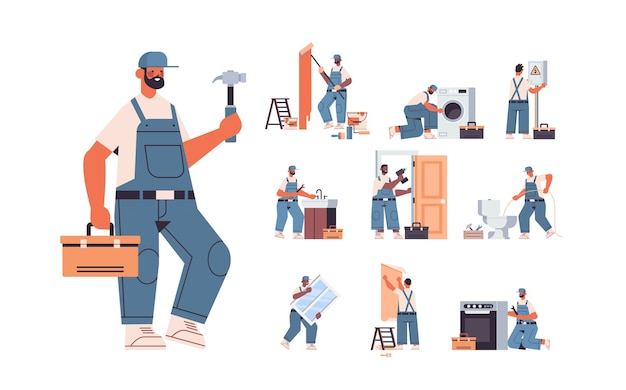 Set mix race professional repairmen in uniform making house renovation home maintenance repair service concept full length horizontal isolated vector illustration
