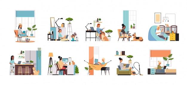 Set mix race women freelancers using laptop working at home during coronavirus quarantine freelance