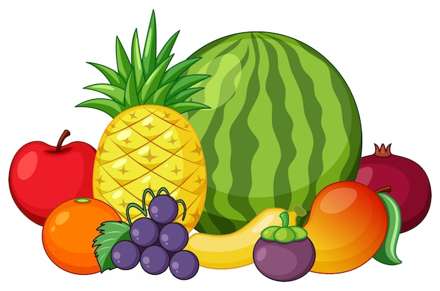 Set of mixed fruit