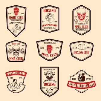 Set of mma and boxing club emblems.
