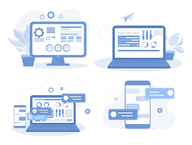 Set of mobile app and website developing concepts. building apps and creating web design flat illustrations.