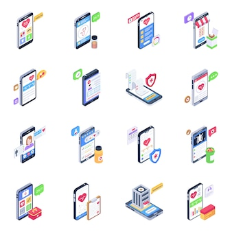 Set of mobile health apps isometric icons