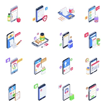 Set of mobile healthcare isometric icons