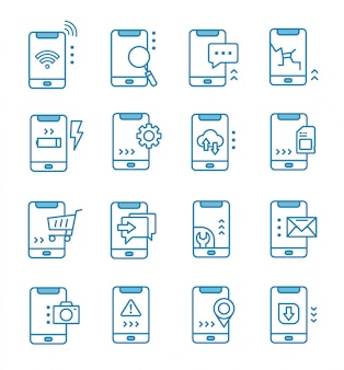 Set of mobile icons with outline style