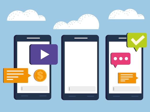 Set of mobile talk bubble