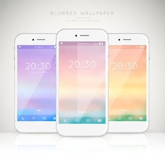 Set of mobiles with soft colored wallpapers