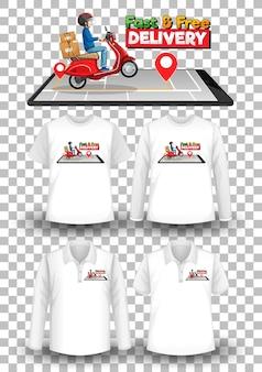 Set di maglietta mockup con tema di consegna