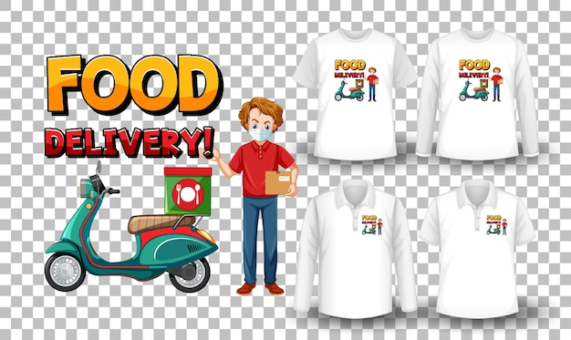 Set of mockup shirt with delivery theme