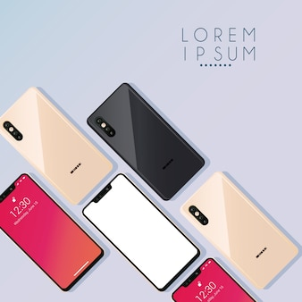 Set of mockup smartphones devices.
