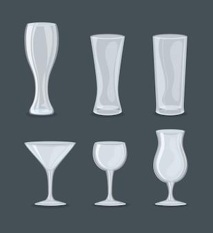 Set mockup, transparent glasses and cups, transparent empty glasses