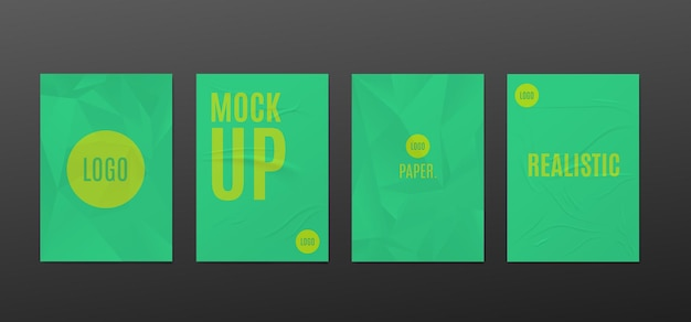 Set mockups of wrinkled paper posters realistic vector illustration isolated
