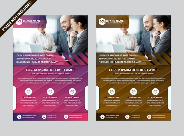 Set of modern abstract background for business flyer with gradient purple and brown colors.