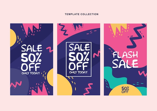 홍보 소셜 미디어 게시물, 이야기, 이야기, 인터넷 웹 배너, flayer, 포스터, 브로셔에 대한 분홍색, 파란색, 노란색 색상으로 현대 추상 배경 템플릿 설정