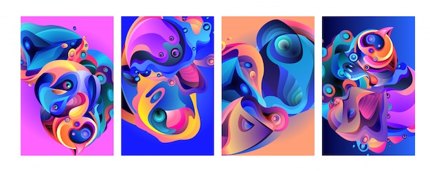 Set of modern abstract colorful vector poster background