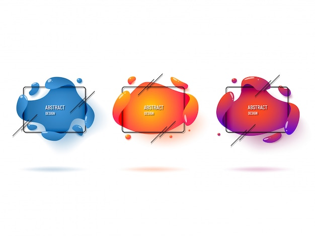 Set of modern abstract graphic elements. liquid dynamic color shapes and lines.