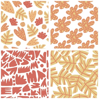Set of modern abstract leaves seamless pattern. hand draw floral wallpaper