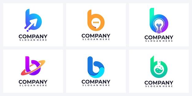 Set of modern abstract letter b logo inspiration