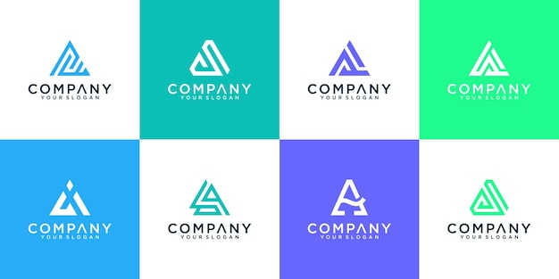 Set of modern abstract letter a logo inspiration