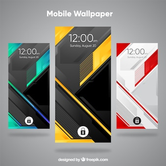 Set of modern and abstract mobile wallpapers