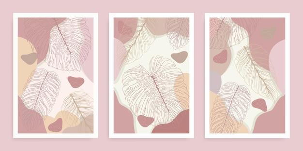 Установить современные абстрактные формы монстера бохо тропические листья