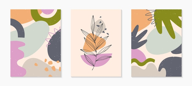 Set of modern abstract vector illustrations with organic various shapes and foliage line art.minimalist art print.trendy artistic designs for banners templates;social media,invitations;branding,covers