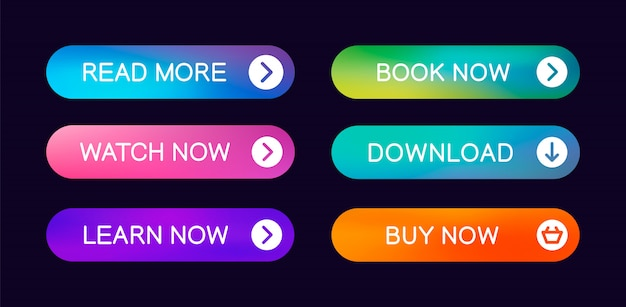 Set of modern abstract web buttons with the ability to edit Premium Vector