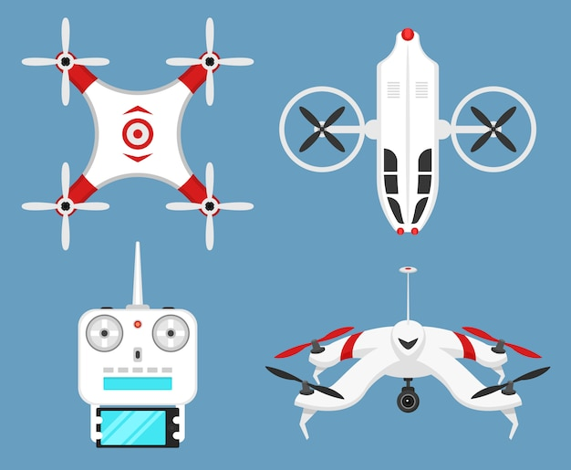 Set of modern air drones and remote control. science and modern technologies.  illustration. radio robot or airplane with a camera in the air. innovative systems and developments.