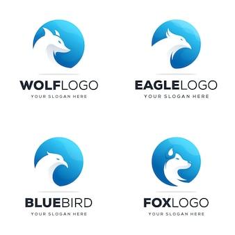 원 로고 디자인으로 현대적인 동물 로고 설정