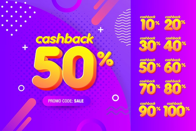 Set of modern banner design template with cashback offer.