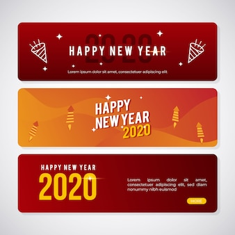 Set of modern banner for new year 2020 greeting post