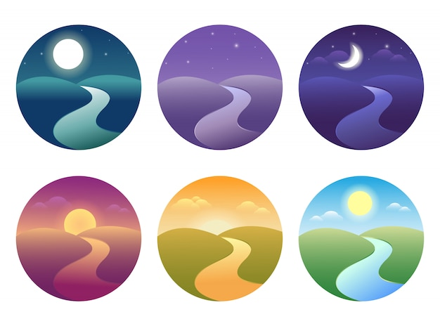 Set of modern beautiful landscape with gradients. sunrise, dawn, morning, day, noon, sunset, dusk and night icon.