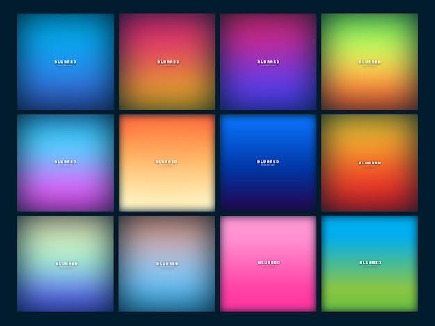 Set of modern blur background